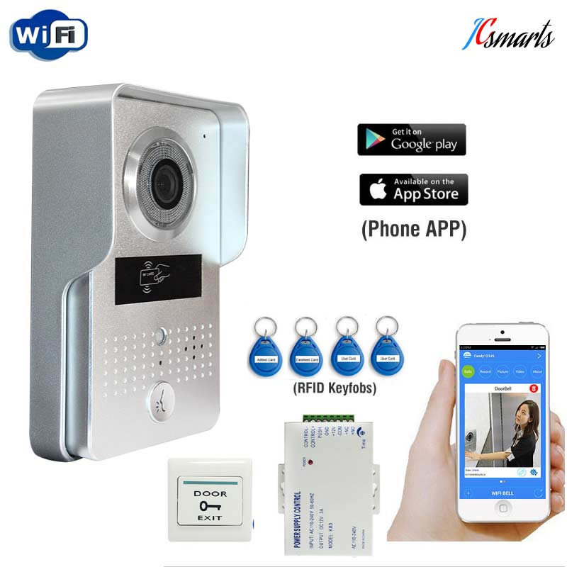 WiFi Video Intercom System Doorbell Camera With 12V 3A Power Supply And Exit Button