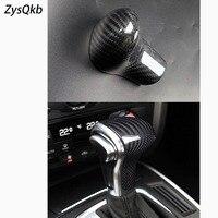 Car styling true carbon fiber Car Gear Shift Knob Cover Level Head Sheath For Audi A4 A5 A6 A7 Q5 Q7 Auto accessories