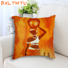 African Life Oil Painting Printed Pillowcase Sofa Cushion Linen Cotton Decorative Back Cushion Throw Pillow 45x45cm Home Decor все цены