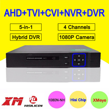 Metal Case Blue-Ray 4 Channel 4CH 25fps 1080P/1080N/960P/720P/960H Five in One Hybrid Coaxial TVI CVI NVR AHD DVR Free Shipping
