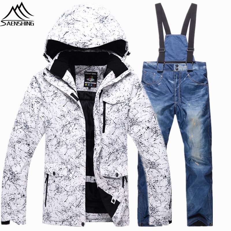 Saenshing Super Warm snowboarding suits Waterproof breathable ski for men jacket+denim snowboard pant skiing snow suit