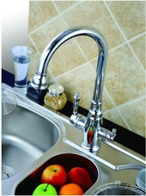 Kitchen faucet mixer two spouts Drinking water tap three way faucet for  water filter