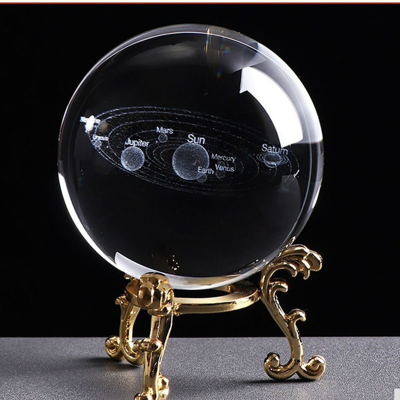 Figurines & Miniatures Home & Garden Orderly 80mm Laser Engraved Solar System Ball 3d Miniature Planets Model Sphere Glass Globe Ornament Home Decor Gift For Astrophile
