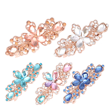 Women Girl Flower Barrettes Elegant Rhinestone Crystal Bowknot Hair Clips Hairpin Accessories