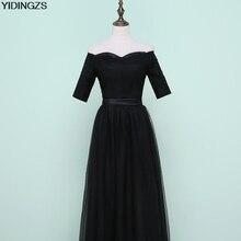 yidingzs black tulle long bridesmaid dresses 2017  sweetheart half sleeve fashion party dress under 50$