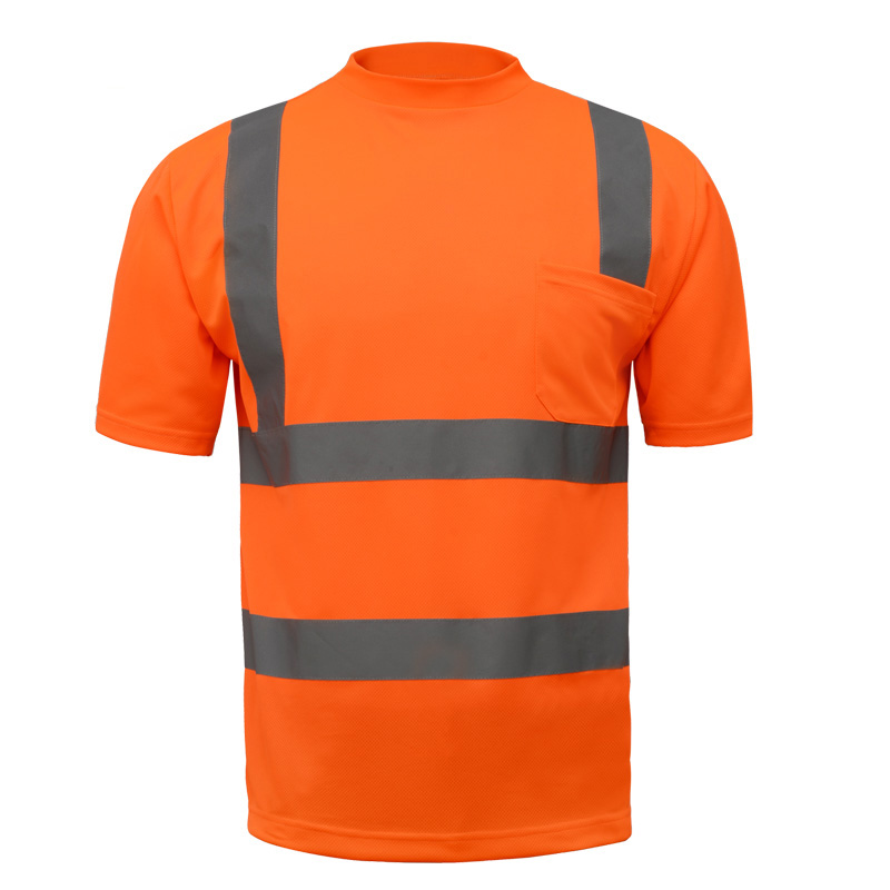 Reflective safety shirt fluorescent orange T-shirt short sleeves breathable for safety work outdoor be seen in night black hollow out round neck short sleeves t shirt