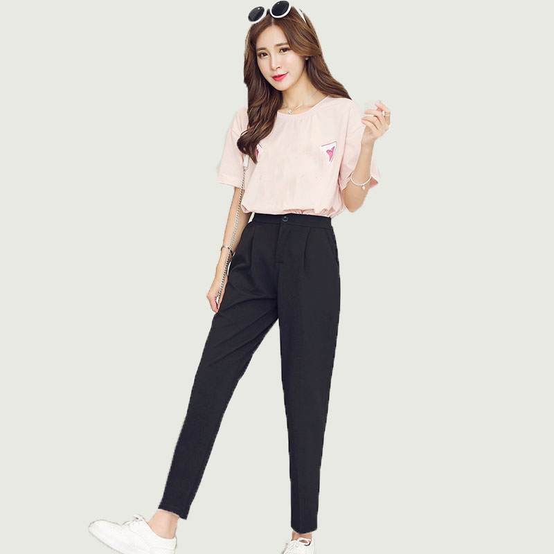 Hot Sales 2019 Summer Korean Female Classic High Elastic Waist Harem Pants Women Fashion Slim Solid Color Ankle-length Pants