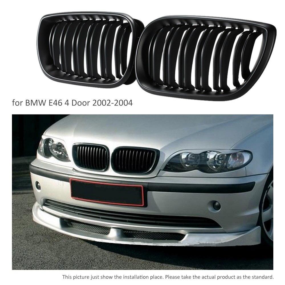 One Pair Car Matte Black Front Grille Grilles for BMW E46 4 Door 2002-2004 Браслет