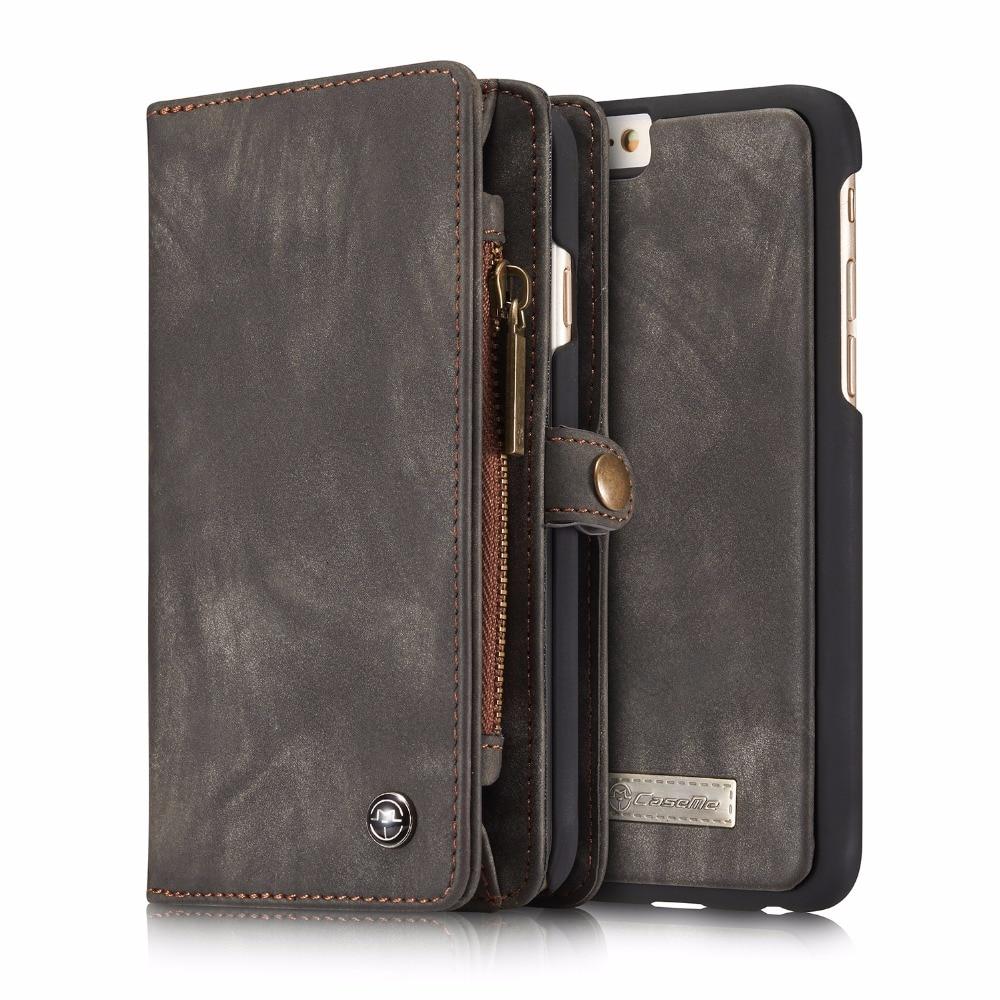 Véritable cuir flip portefeuille cas pour iphone 66 s 2 dans 1 conception avec amovible magnétique couverture de téléphone sta