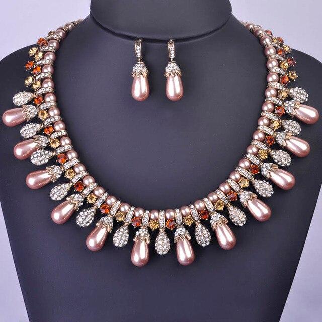 Madrry Африканские Бусы Комплект Ювелирных Изделий Античный Позолоченные Choker Искусственного Жемчуга Ожерелье Серьги Кристалл Индийской Невесты Аксессуары