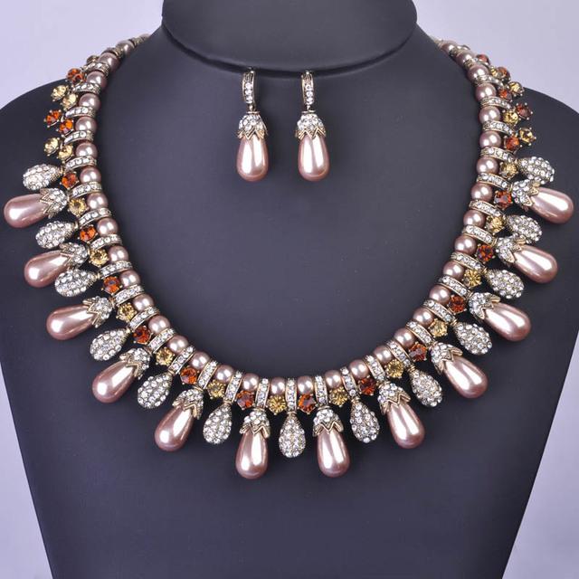 Madrry beads africanos conjunto de jóias de ouro antigo banhado choker simulado colar de pérolas brincos de cristal acessórios de noiva indiana