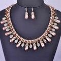 Madrry perlas africanas joyería conjunto chapado en oro antiguo choker collar de perlas simuladas pendientes de cristal accesorios de novia india