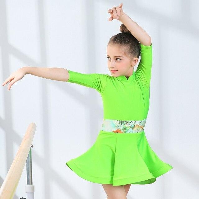 san francisco 521be ed811 US $40.21 12% di SCONTO|Fluorescente verde Capretti/Bambino Vestito Da  Ballo Latino Lulu Vestito Da Ballo Salsa Dance vestiti Body Bambini/Ragazze  ...