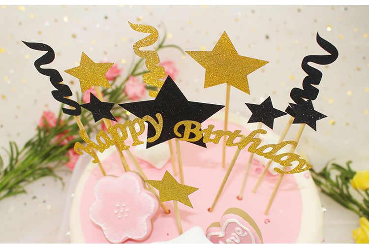 1 Set Happy Birthday Cake Toppers Black Gold Stars Flag Stripe Wedding New Years
