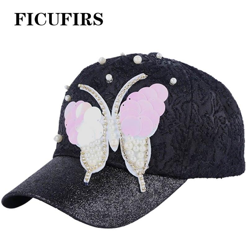 Mutig Ficufirs Neue Design Schmetterling Pailletten Bling Frau Casual Baseball Kappe Hohe Qualität Spitze Hut Einstellbar Keine Ring