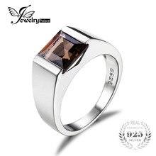 Jewelrypalace hombres square 2.2ct genuino cuarzo ahumado anillo de bodas de plata de ley 925 anillo de bodas para los hombres accesorios de moda