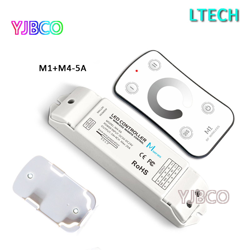 M1+M4-5A M1 Mini RF wireless led controller with M4-5A CV Receiving single color input DC5V-DC24V;Max 20A output 5A*4CH цена