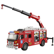 цена на Alloy American 24-hour Rescue Fire Truck Model Truck Boom Engineering Vehicle Car Crane Simulation Special Service Fire Metal