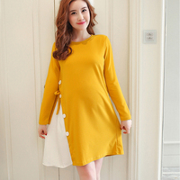 OkayMom Korean Loose Maternity Dresses Clothing Pregnancy Wear Long Dress Black Yellow Top Clothes For Pregnant Women Autumn New