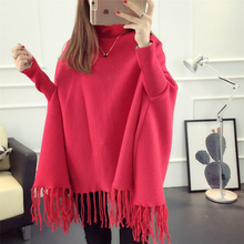 Women Fashion Turtleneck Elegant Tassel Macrame Knitted Solid Color Batwing Sweater Coat Jumper Jersey Pullover Pashmina Cloak(China)