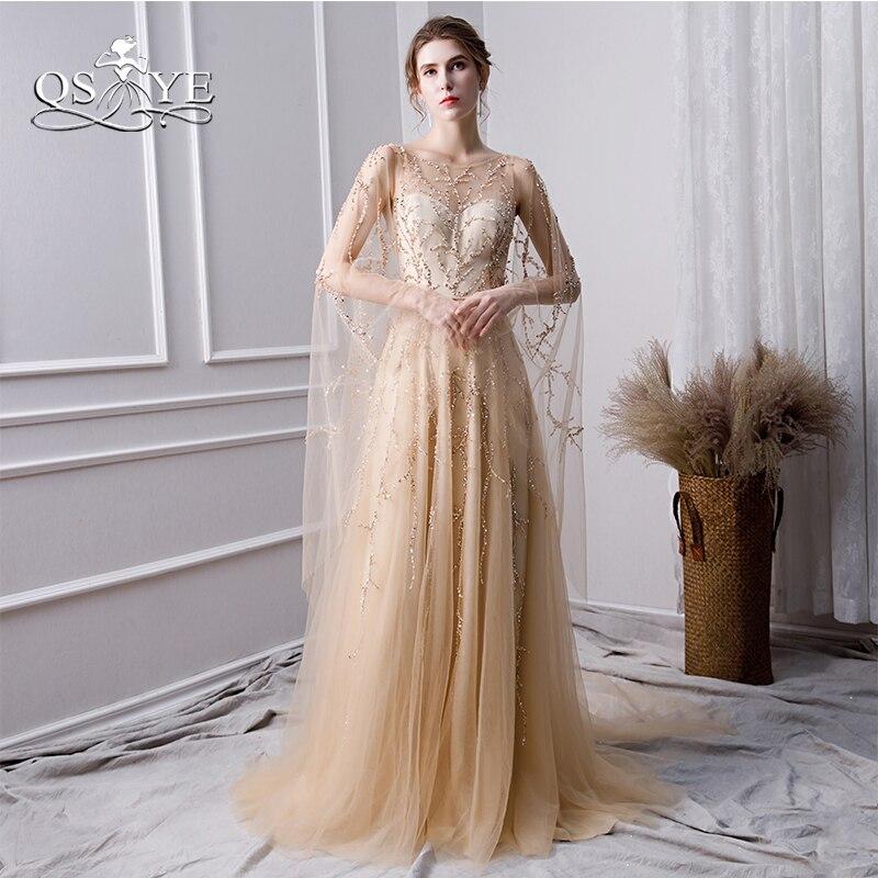 QSYYE 2018 nouveau Champagne longues robes de bal Robe de soirée perles dentelle Tulle longue Robe de soirée formelle robes de soirée