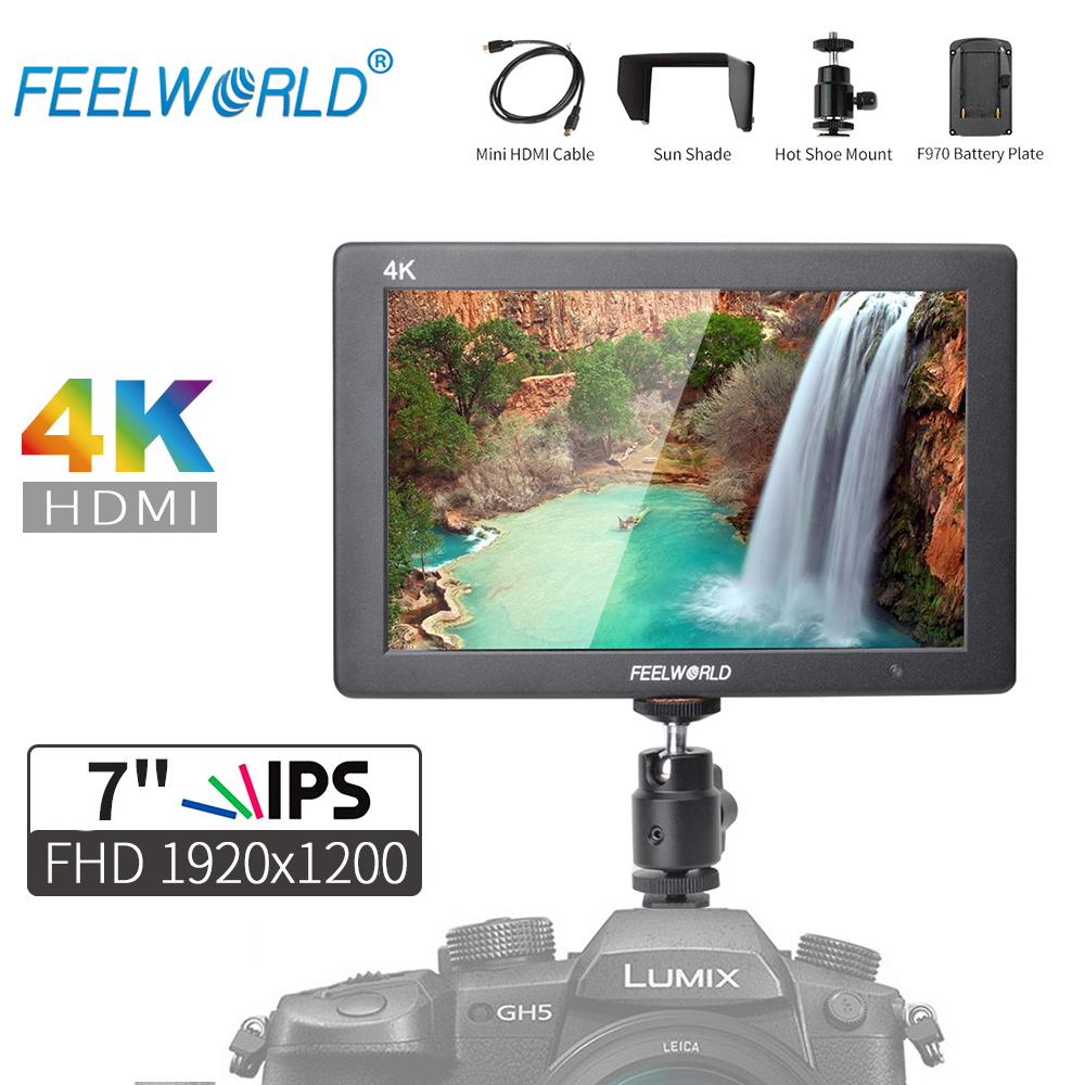 Feelworld T7 7 Inch IPS Full HD 1920x1200 4K HDMI On-camera Solid Aluminum Housing Field Monitor for DSLR Camera Peaking Focus f450 4 5 inch ips 1280x800 hd 4k field lcd camera monitor with hdmi input output uhd peaking focus and other monitor accessory