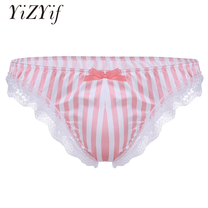 YiZYiF Pink Satin Panties For Men Sissy Satin Lingerie Gay Panties Sexy Underwear Bikini Briefs Gay Satin Ruffle Lace Underpants