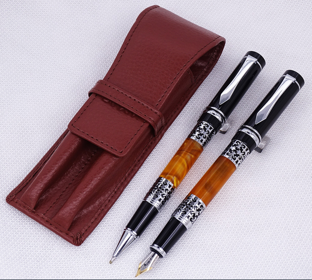 Yiren 675 Celluloid Silver Flower Pattern Fountain Pen & Roller Pen with Real Leather Coffee Pencil Case Washed Cowhide Pen Case
