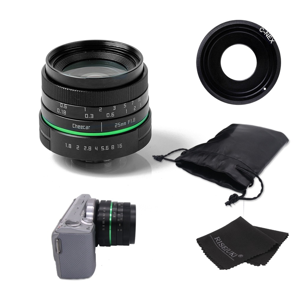 New green circle 25mm CCTV camera lens For Sony NEX with c-nex adapter ring +bag + gift image