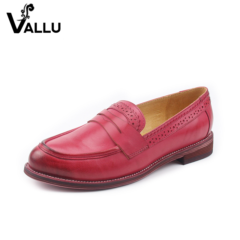 2018 VALLU Genuine Leather Women Flats Round Toes Handmade Tassel Bowtie Loafers Women Flat Shoes vallu spring summer women flats genuine leather pointed toes handmade original shoes basic women ballerina slip on flat shoes