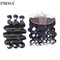 Шелковый База Кружева Фронтальная застежка с Связки объемная волна бразильского человеческих волос Weave Связки прошва продукты волос Remy