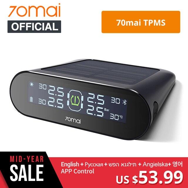 70mai tpms Tire Pressure Monitor System English APP Solar Power USB tmps 70 mai Car Tyre Pressure Sensors System Alarm
