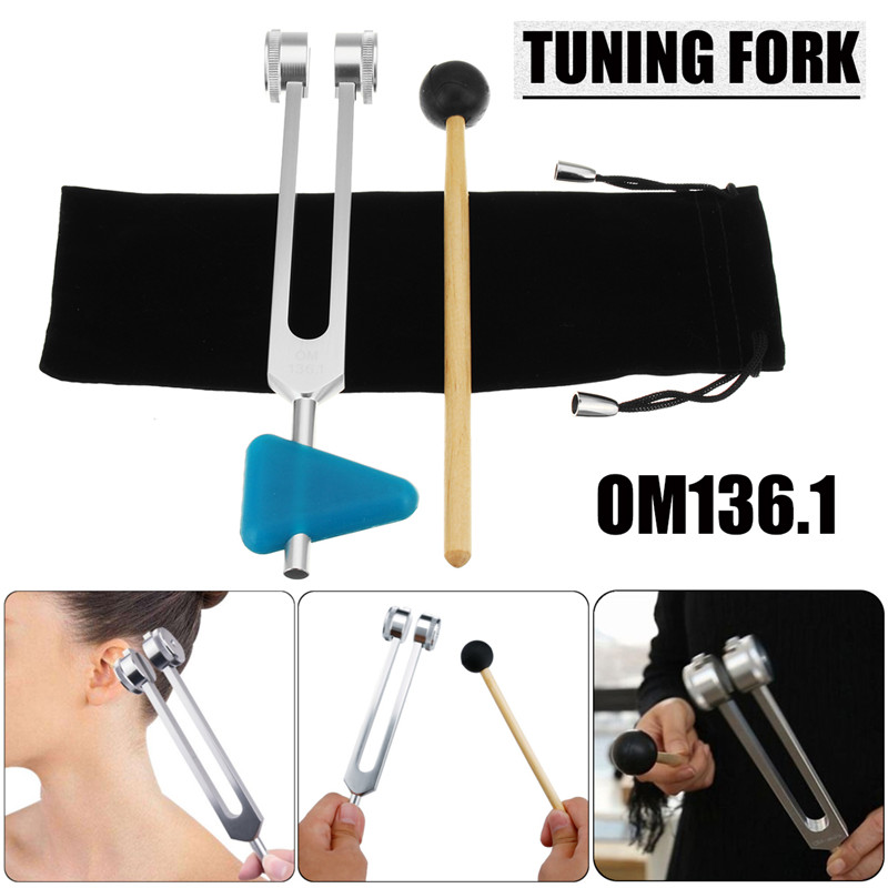 2pcs/set OM136.1 Chakra Tuning Fork Aluminum Alloy With Striking?Mallet Module For Sound Healing Therapy Medical Neurological