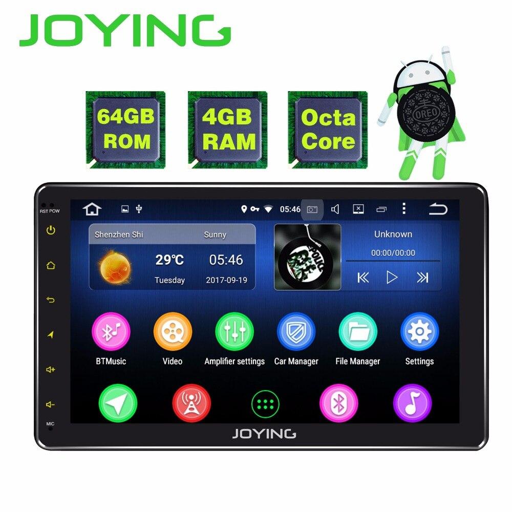 JOYING 4 gb RAM 64 gb ROM unique 1 din 10 pouce 8 Core Android 8.1 Voiture Radio Stéréo tête unité BT HD Lecteur Soutien Apple-Carplay