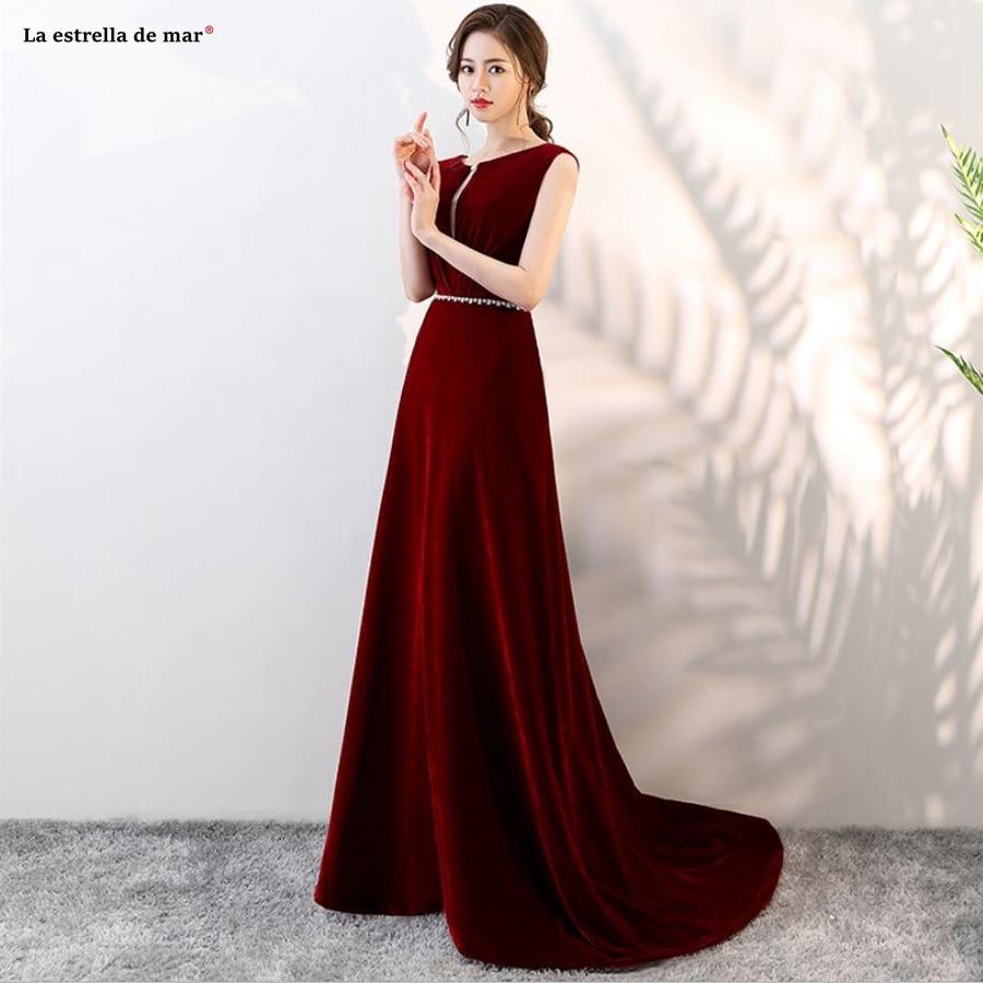 Vestido De Festa Longo Para Casamento Vestido Para Madrinha New Lace And Velvet Crystal A Line Burgundy Bridesmaid Dresses