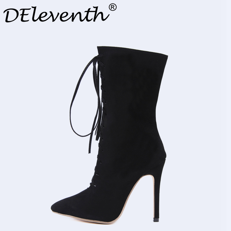 DEleventh 2018 Ladies Spring Autumn Women Black Cross-Strap Pointed Toe Stiletto High Heels Boots mid calf Bootie Ladies Shoes pu pointed toe flats with eyelet strap