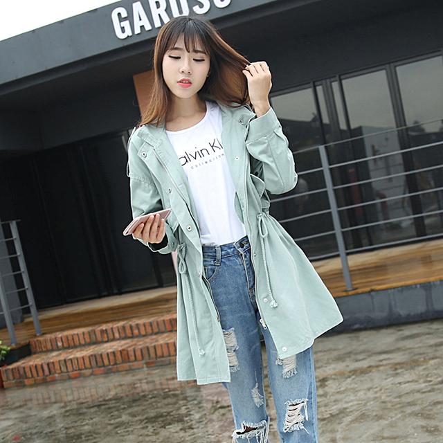 plus size coat women spring autumn winter 2016 bermuda feminina long windbreaker long sleeve thin coat female A1070