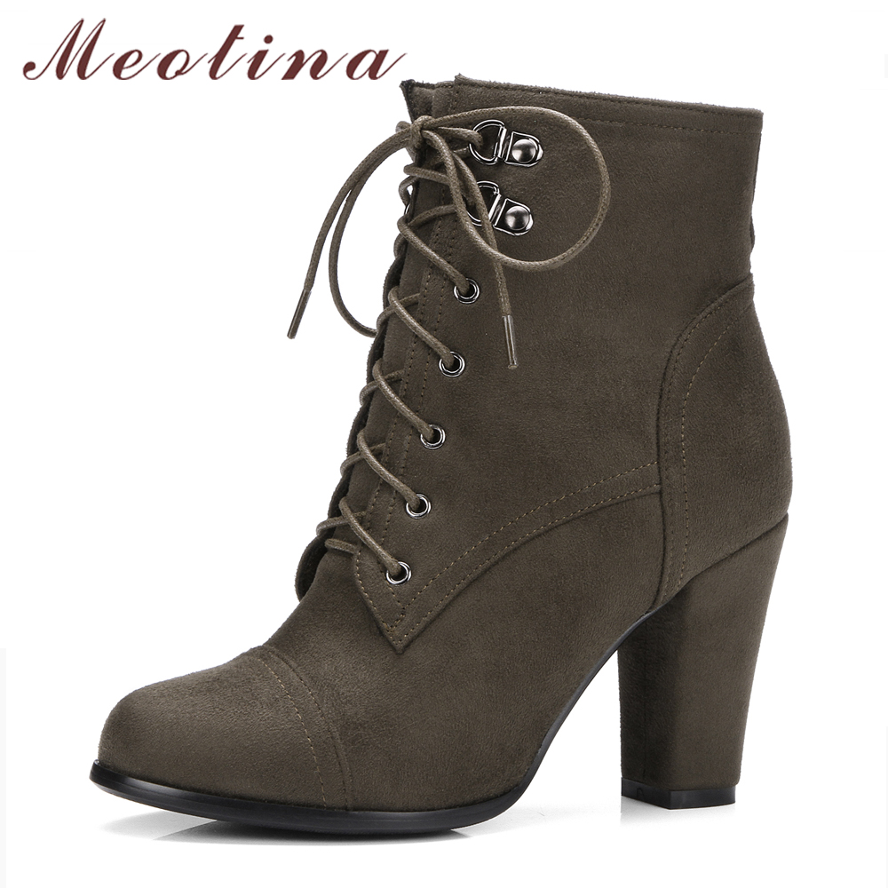 Meotina Women Boots Winter High Heels Ankle Boots Lace Up Thick Heel Short Boots Zipper Autumn Ladies Shoes Black Big Size 34-43 meotina women boots winter chunky heel western boots ladies ankle boots large size 34 43 female autumn shoes 2018 white brown