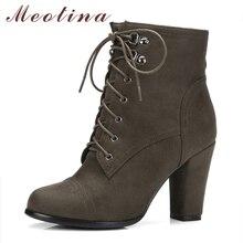 Meotina Frauen Stiefel Winter High Heels Stiefeletten Starke Ferse kurze Stiefel 2017 Herbst Damen Schuhe Große Größe 34-43 Reißverschluss Designer