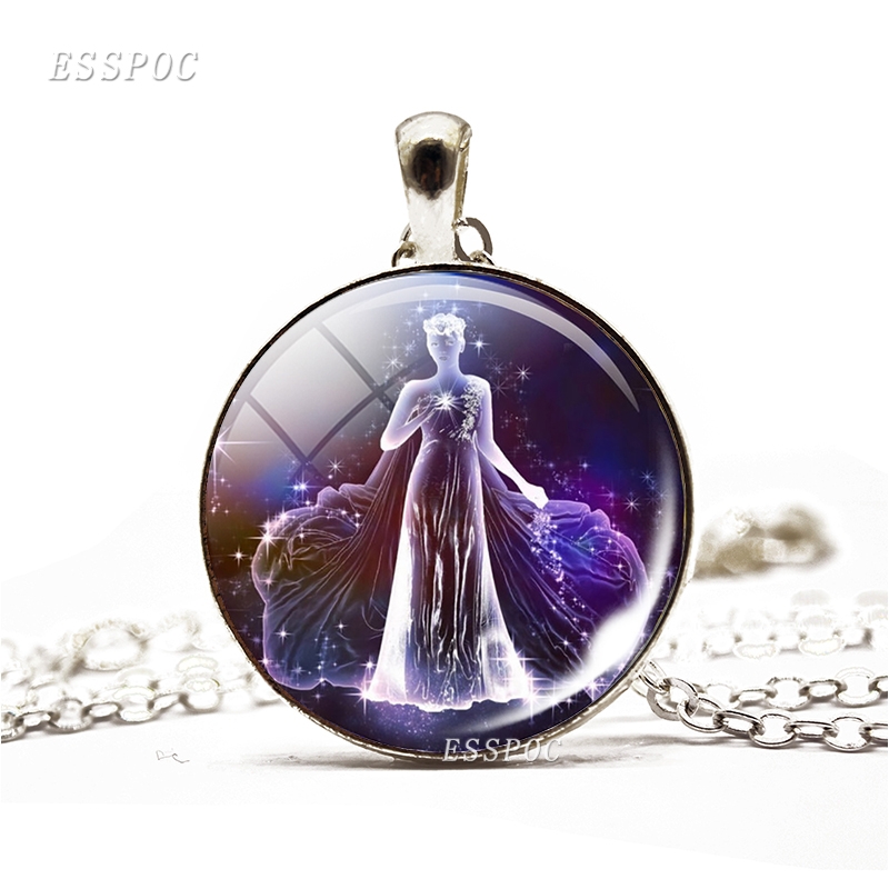 Galaxy Constellation Necklace 12 Zodiac Signs Glass Cabochon Silver Plated Pendant Necklace Birthday Gift Free Shipping
