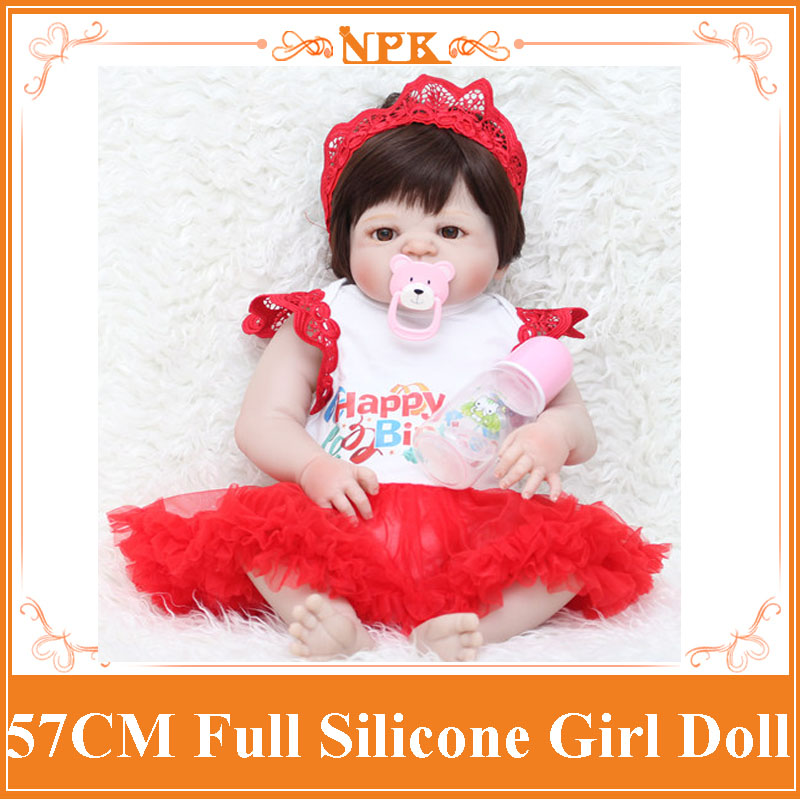 NPK 57cm Bebe Reborn Girl Dolls Alive Full Silicone Sweet Princess Bonece Toys With Fashion Dress Kids Birthday Gift Child Toys new style girl dolls full silicone reborn dolls with beautiful dress adora dolls bebe reborn de silicone menica
