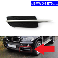 For BMW X5 E70 2007 2010 Car Insert Lower Bumper Grill Fog Light Grille Auto Front Bumper Grille Cover With Silver Trim