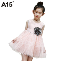 A15 Girls Dresses for Party and Wedding Princess Dress Kids Dresses for Girl Party Wear 2018 Summer Dress White Age 6 10 12 Year