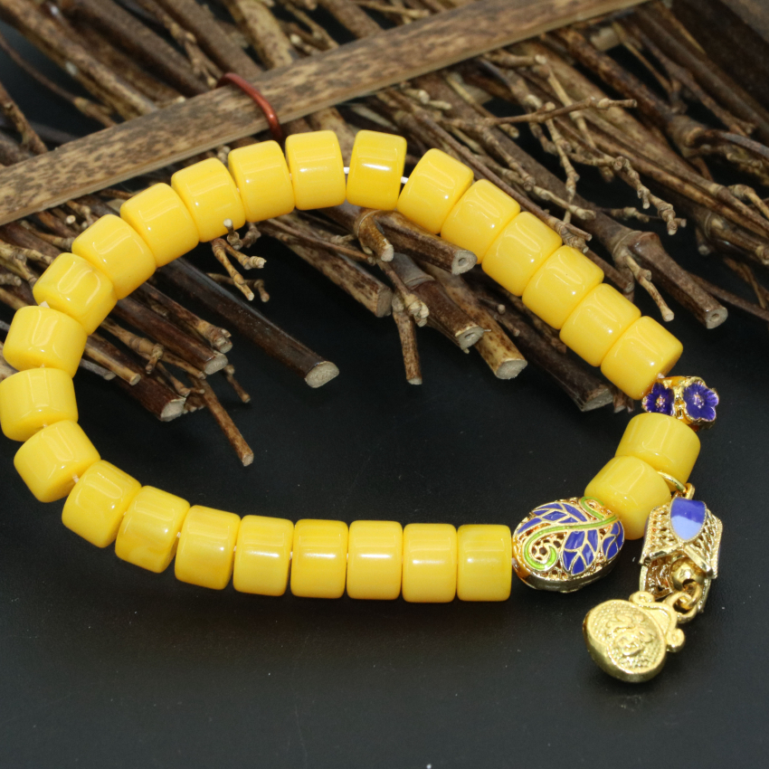 Bohemia style charms gold-color cloisonne spacers yellow resin beeswax 6*8mm abacus beads bracelets diy jewelry 7.5inch B2720