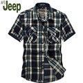 2016 modelos de explosión de la moda camisa de manga corta masculino Jeep Battlefield Afs Jeep genuino de moda casual camisa a cuadros sueltos 60