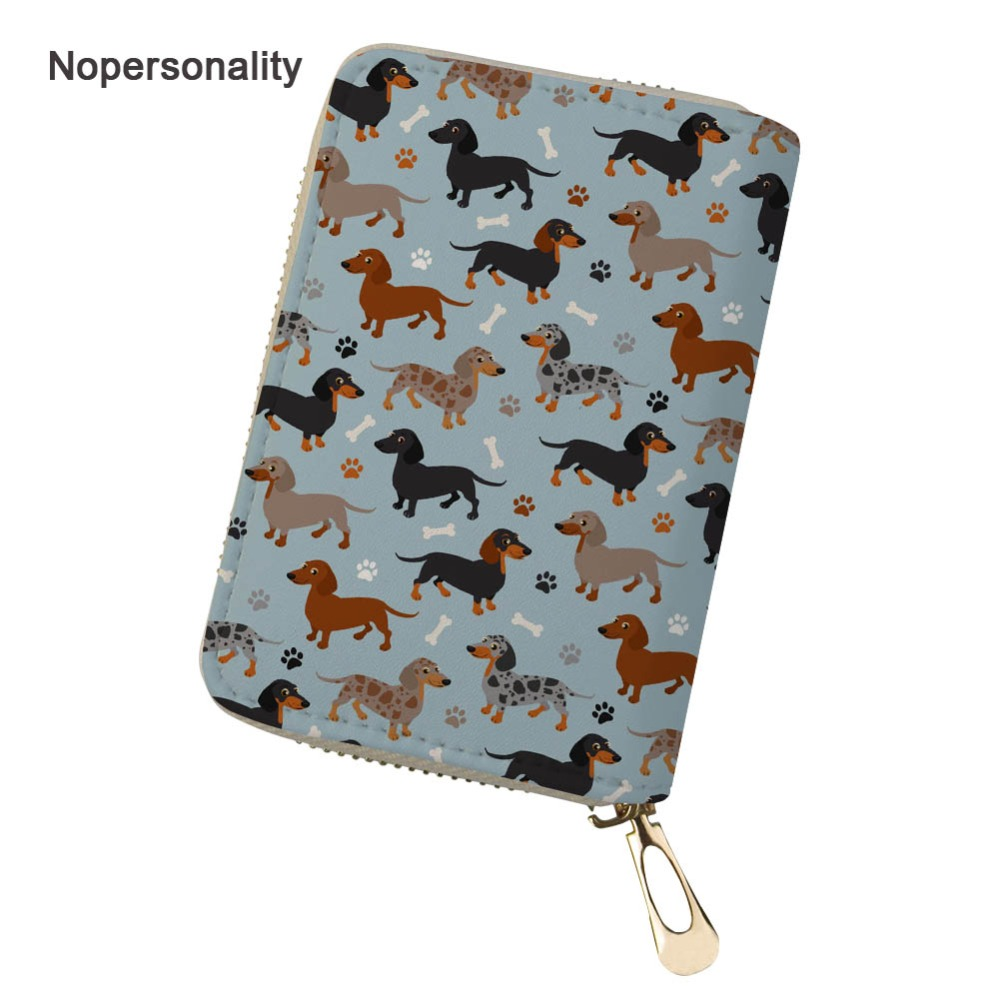 Nopersonality Cute Floral Dachshund Dog Print Business ID Card Bag Unisex Men Women Credit Card Holders Personalized Coin Purse