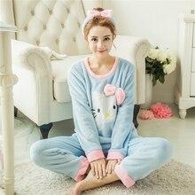 Autumn Winter Women Pyjamas Sets Thick Warm Coral Velvet Suit Flannel Long Sleeve Female Cartoon Bear