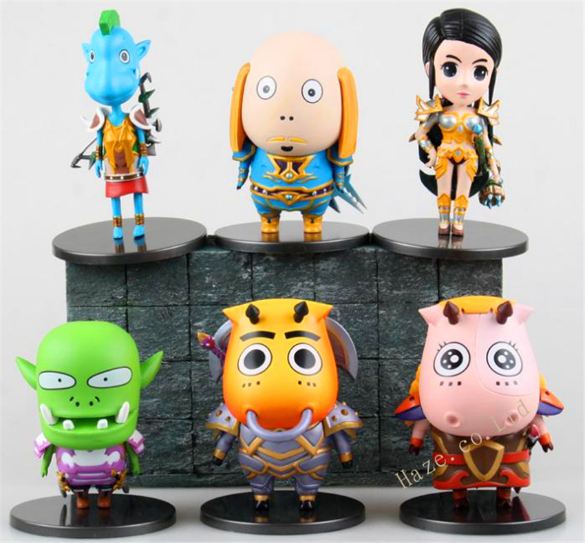WOW game six figures set doll kids' toy figurine doll 11.5*9*15cm wow wow поющий цыпленок яйцо