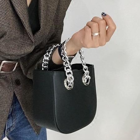 Fashion Mini Chain Handbag For Women Shoulder Bag PU Leather Female Crossbody Bag Little Bag Ladies Messenger Bags Women's Totes