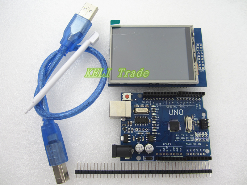 2.8 inch TFT LCD Touch Screen Display Module + Uno r3 Development Board Compatible  UNO R3 + USB Cable настенные часы салют п 2а7 457 яблоки